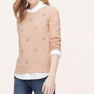 Blush Pink Beaded Sweater/Sweatshirt
